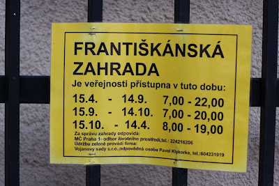 Prague - Frantiskanska garden opening hours