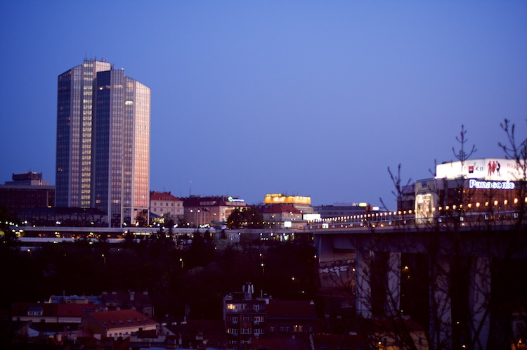 Corinthia Towers and Nuselsky bridge, Prague
