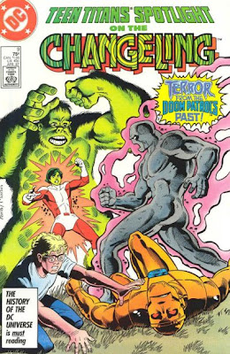 In this issue the Changeling fights Beast Boy and Robotman!