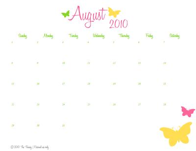 august calendar 2010. August 2010 Calendar