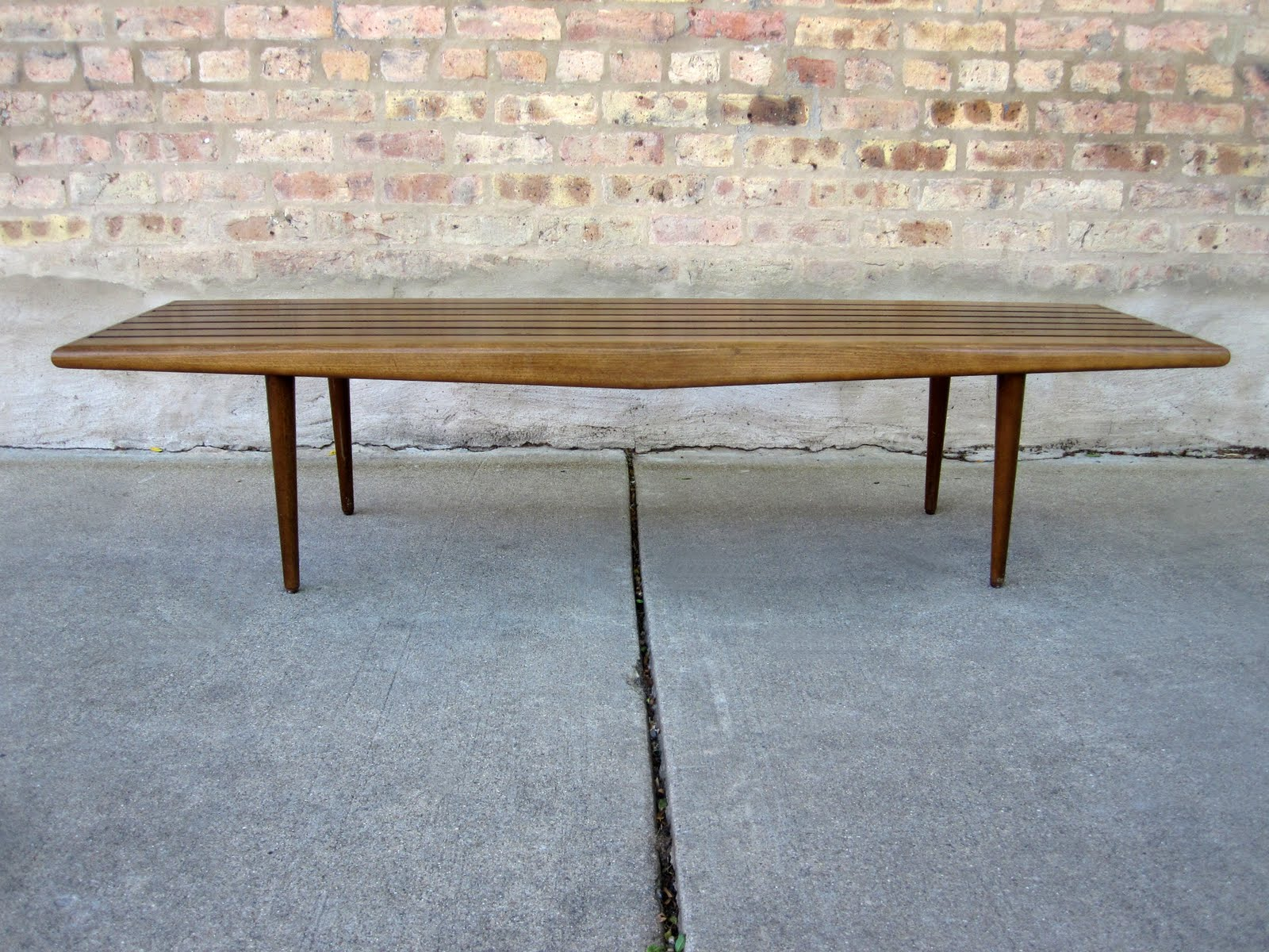 circa midcentury: 'danish modern' slat bench / coffee table