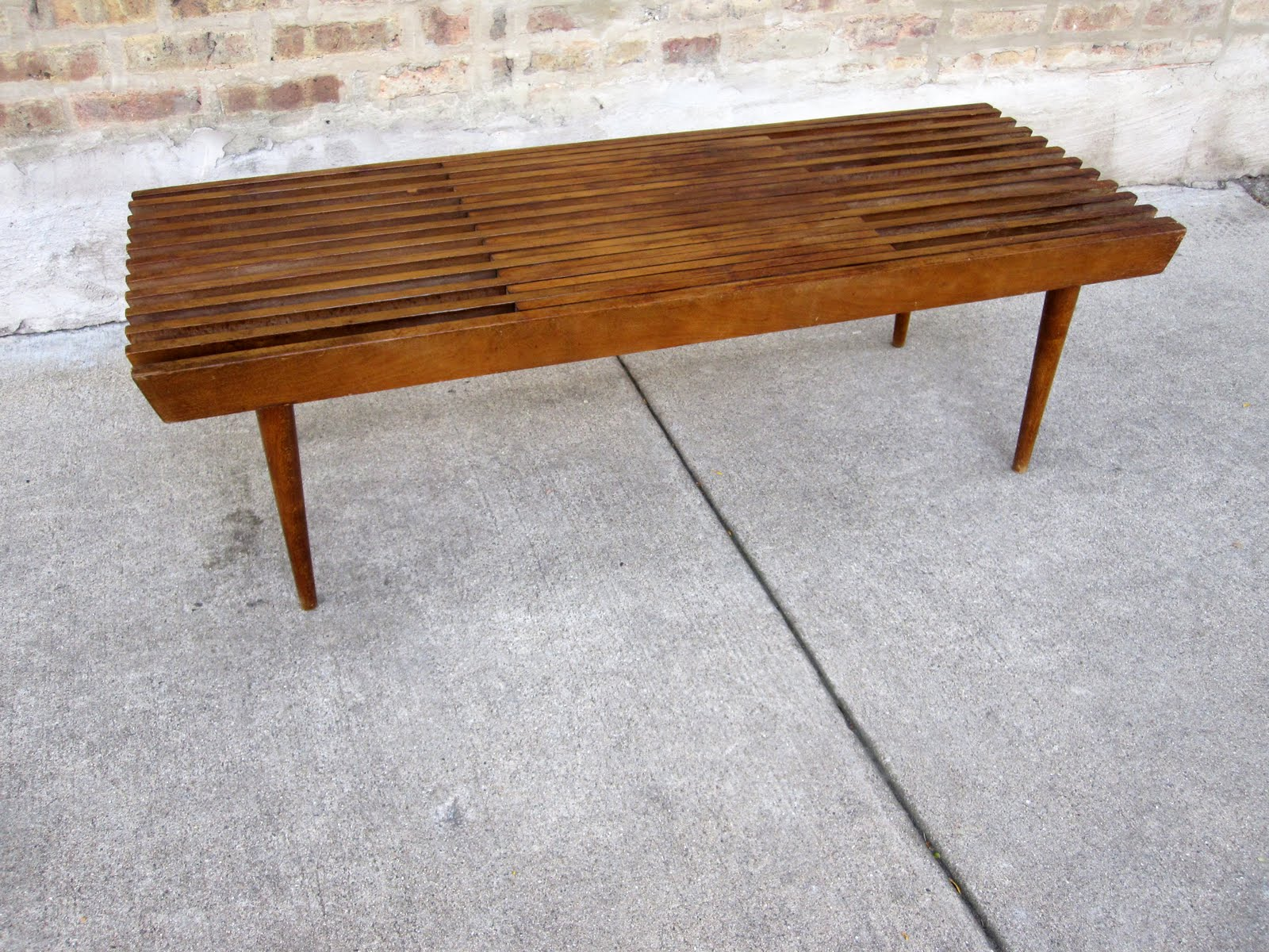 circa midcentury danish modern walnut slat bench coffee table