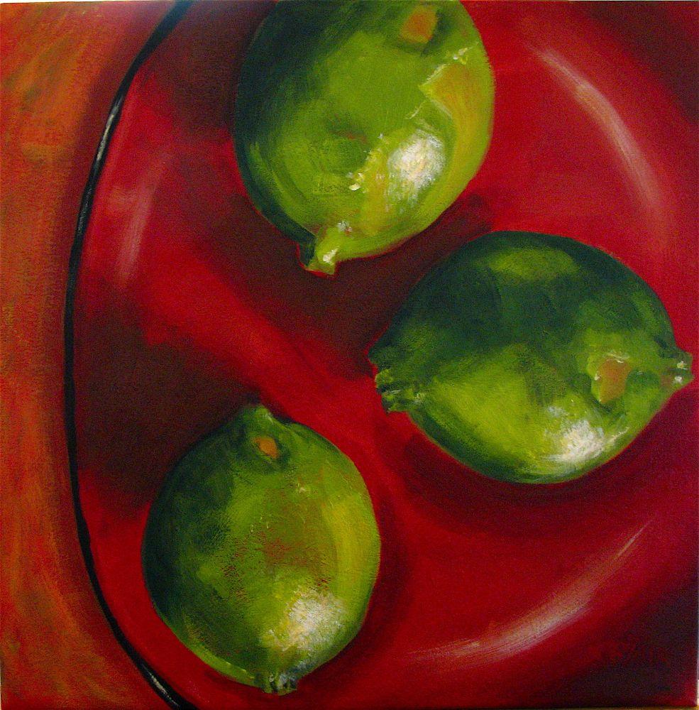 Kim Blair Three Limes On Red Plate
