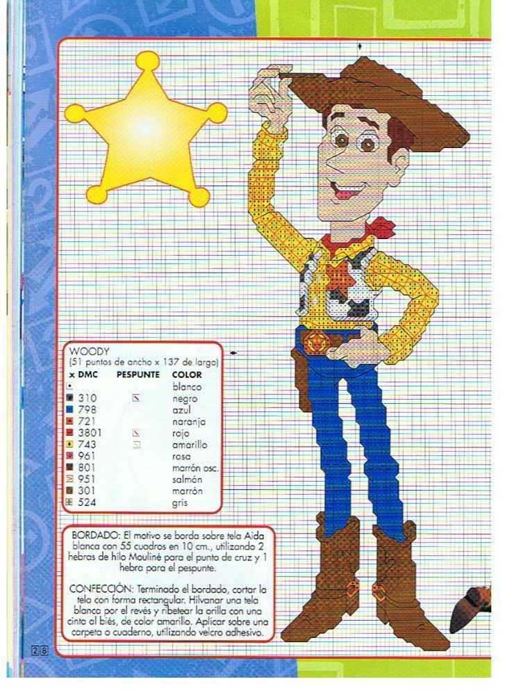 Punto de cruz Toy Story patrones gratis | Punto de cruz