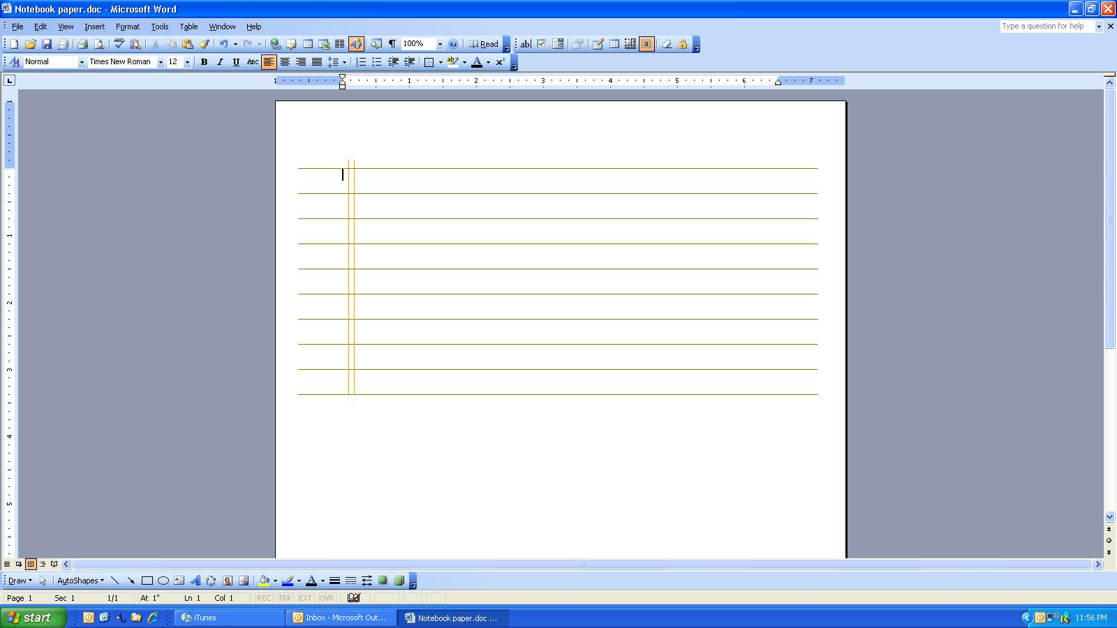 Microsoft Word Notebook Template