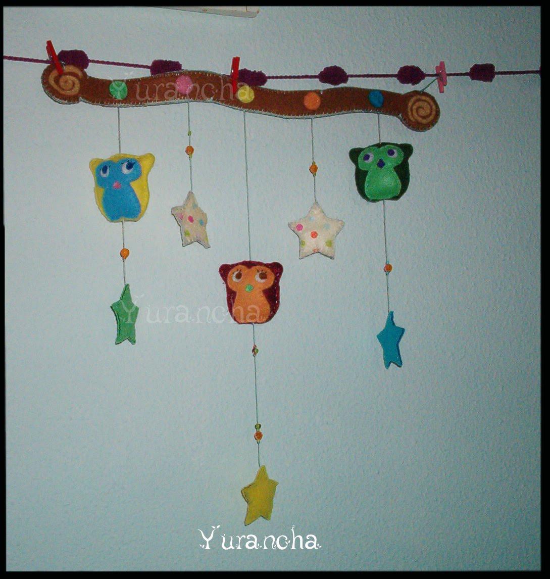 Yurancha: Movil de fieltro de buhitos de la suerte