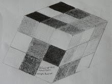 As part of an architecture drawing course, here is my hand drawing the Rubik's Cube