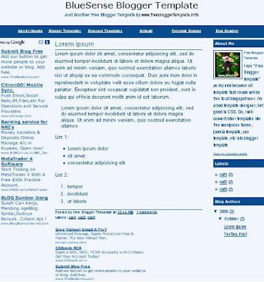 BlueSense Blogger Template