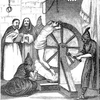 some religious gentlemen getting important intelligence from a Spanish jew using a simple stress position... not torture at all, no no