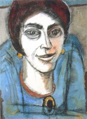 Vera Singer, Damein Blau, 1999, Mischtechnik auf Japanpapier