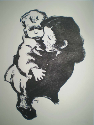 Max Lingner: Mutter und Kind, Pinsel und Tusche, Paris 1943, Handdrucke der Max-Lingner-Stiftung, 2009, Aufl. je 20 Stück, mit rücks. Stempel. Davon sind noch wenige Exemplare vorrätig.