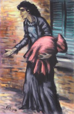 Franz Masereel, Flüchtlingsfrau, Gouache auf Velin, 1942