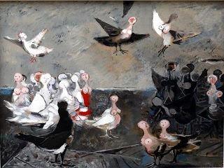 Willi Sitte - Die guten und die bösen Harpien, 1956, Öl auf Karton, 55 x 61