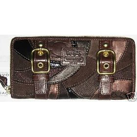 Coach Signature Zoe Patchwork Mosiac Zip Around Buckle Brown Accordian Wallet Clutch Handbag 41884