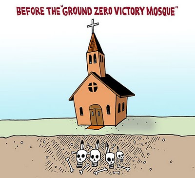 Image of Christian church built over a Native American burial ground, caption: Before the*Ground Zero Victory Mosque*