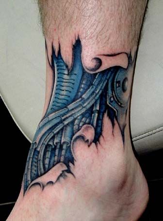 Tribal Leg Sleeve Tattoo.