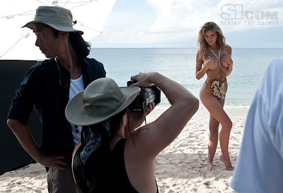 Body painting photo shoot with Brooklyn Decker