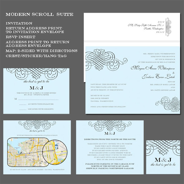 Modern Scroll Wedding Invitation Suite