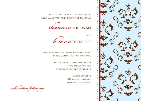 Delicate Damask Wedding Invitation