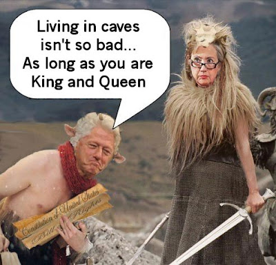 Bill and Hillary Clinton living in caves
