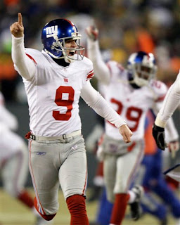 Lawrence Tynes celebrates not missing a third straight field goal