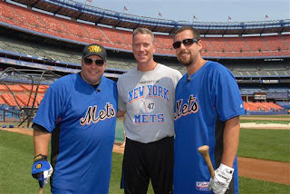 Kevin James and Adam Sandler with Tom Glavine