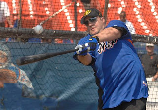 Kevin James taking batting practice at Shea Stadium