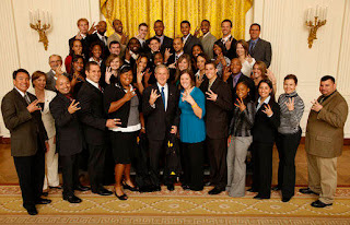 President Bush gives us the shocker, we can only wonder if he ever gave it to Laura