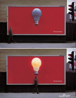 man under light bulb with and without lit