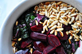 Add the orzo to a bowl, along with the beets, pine nuts, beet greens ...