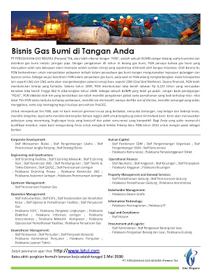 lowongan perusahaan gas negara tahun 2010 duniakerja
