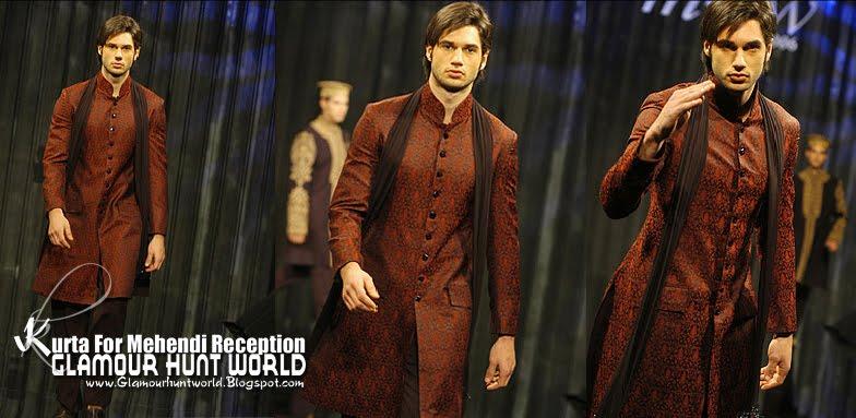 KurtaCollectionForMehendiReception 02 wwwGlamourhuntworldBlogspotcom - Dashing Men's Wear