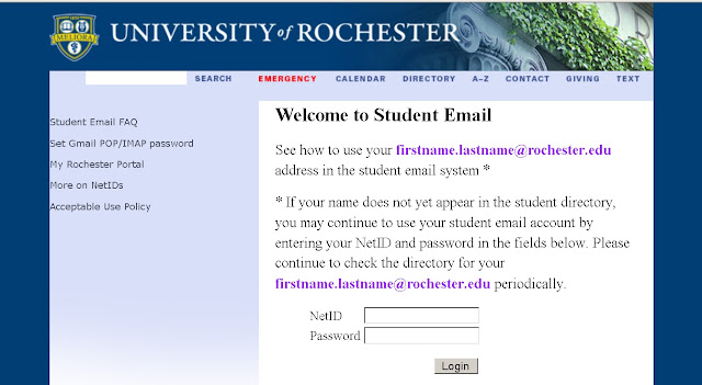 How to Login to University of Rochester Email from Rochester.edu