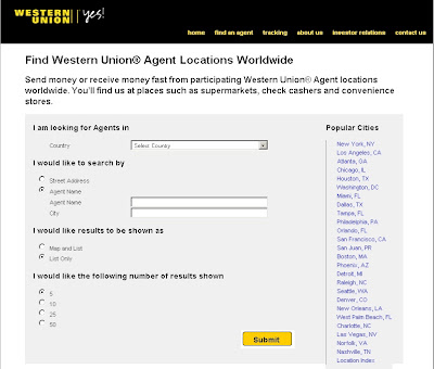 Using Agent Locator for searching Western Union Agent locations