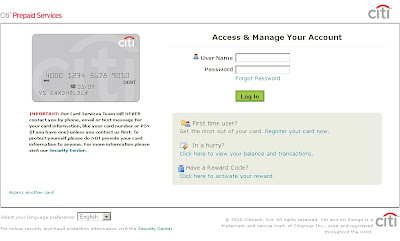 Sears Holdings Debit Card Login at Prepaid.citi.com/searsholdings