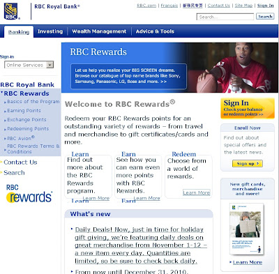 Royal Bank Card (RBC) Rewards Program on rbcrewards.com
