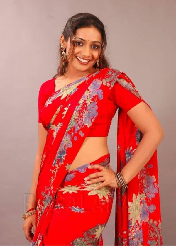 Kannada Malayalam Red Mallu Saree Aunty Meera Vasudevan