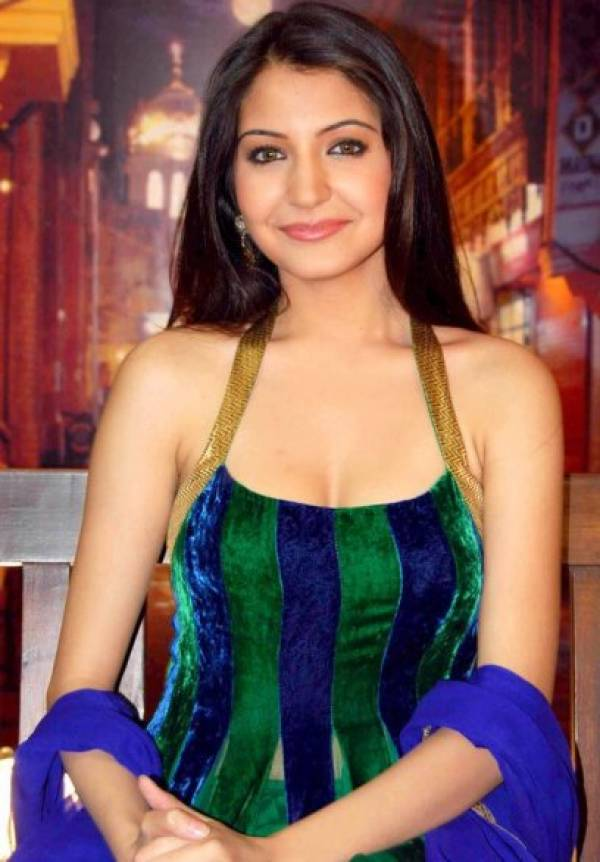 Anushka Sharma in Blue-Green Velvet Long Shoulder Dress