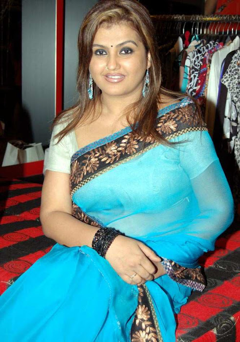 sona heiden in blue saree sona collection hot images