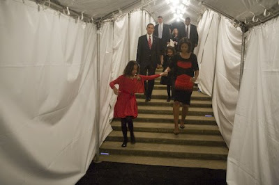 Barack Obama, Michelle Obama, Sasha and Malia on Election Night, walking out for Barack to hit the Chicago stage for his Acceptance Speech