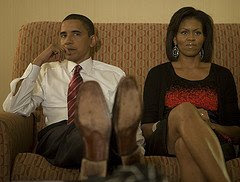 Barack Obama and Michelle Obama on Election Night in hotel watching the results