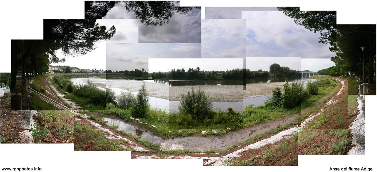 Fotografia di un'ansa del fiume Adige a Parona, Verona