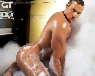 man bath Naked bubble