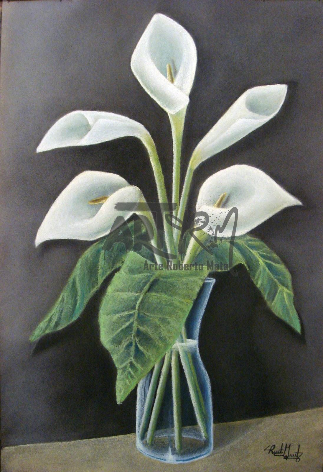 Dibujo y pintura: Flores con pasteles secos