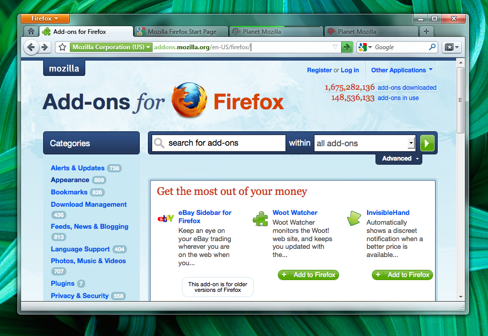 Below is an early screen shot of Firefox 4 for Windows 7 showing the tabs