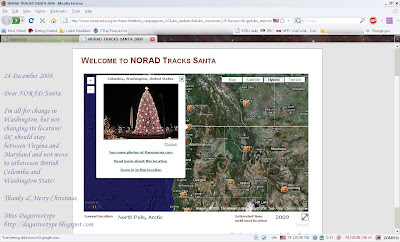annotated screenshot of NORAD's 2008 Santa Tracker with Washington, DC relocated north of Seattle