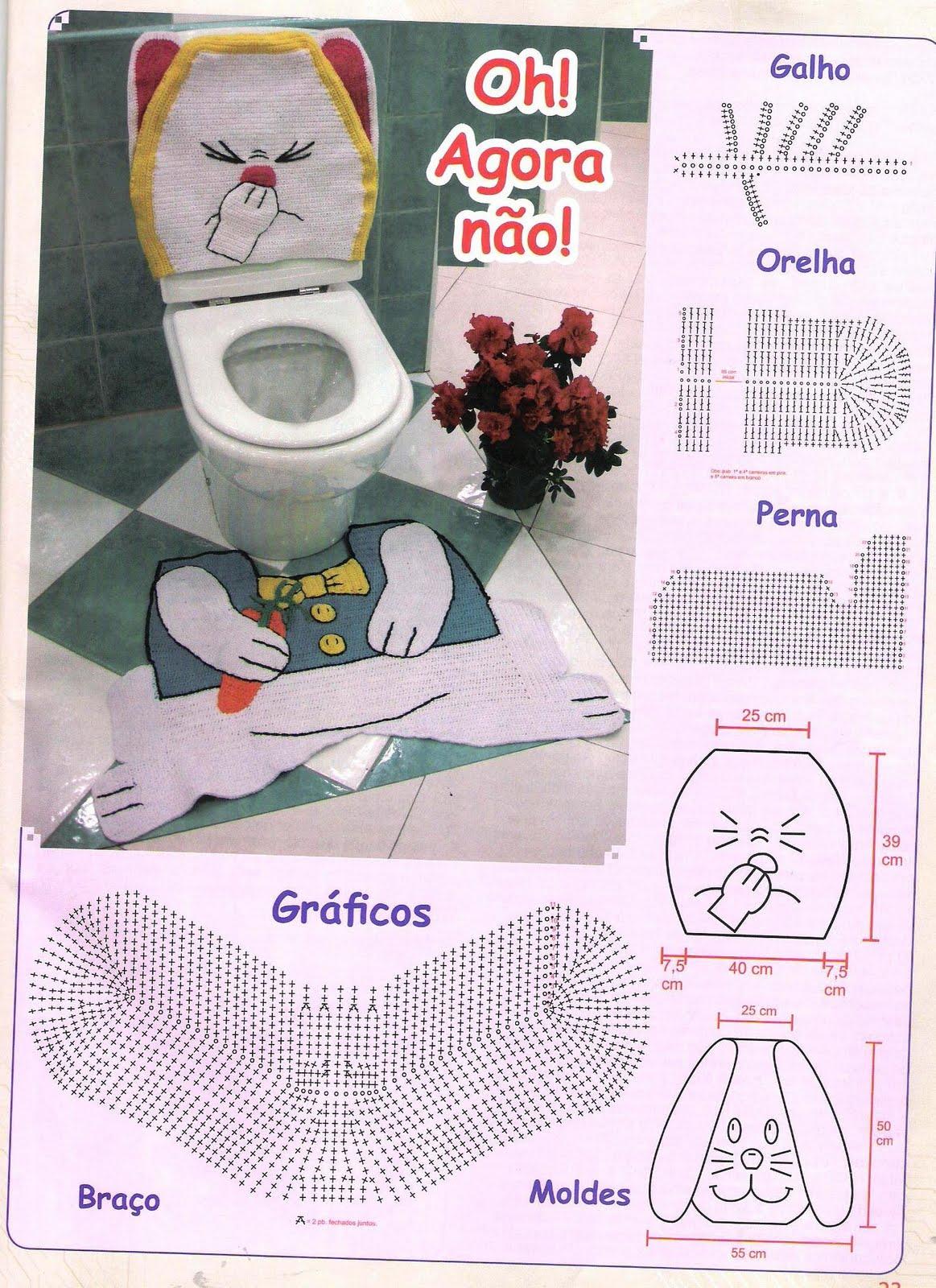 Crochês e Pinturas: Jogo de banheiro de crochet em barbante Coelhinho #7C3335 1163 1600