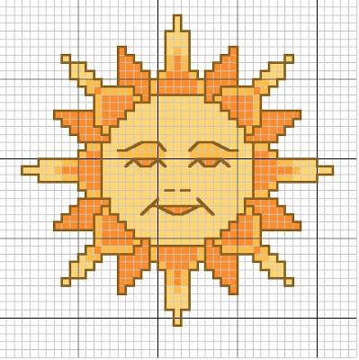 sol em ponto de cruz