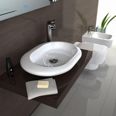 Casas minimalistas y modernas lavatorios sobre mesada for Mesadas banos modernos