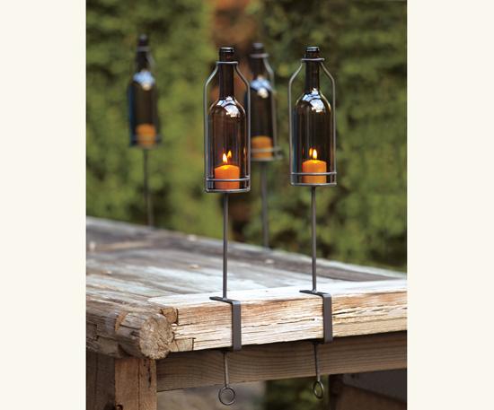 Estilo rustico velas y botellas para iluminar exteriores for Exteriores rusticos